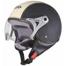 CASQUE RC JET VISIERE CUIR NOIR / BEIGE CYCLO SCOOTER SOLEX - TAILLE M 57/58