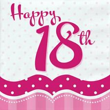 18 x Perfectly Pink Happy 18th Napkins 33cm Girls 18 Birthday Party Tableware