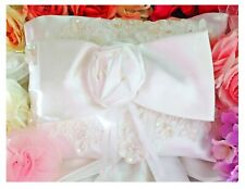 Pillows Ring Bearer Lace Pearls White Satin Bow Rose Wedding Bridal Accessories
