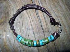 Turquoise & Sterling Silver Cuff Bracelet Dark Chocolate Brown Leather