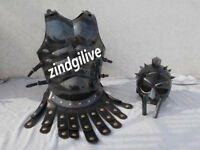 SET OF GLADIATOR HELMET MEDIEVAL ROMAN ARMOR & SPARTAN COSTUME W/ MUSCLE JACKET""
