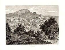 Stampa antica SUBIACO veduta panoramica campagna di Roma 1876 Old print Rome