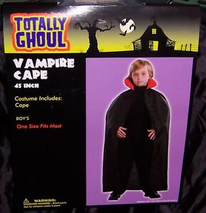 TOTALLY GHOUL BOY'S VAMPIRE CAPE HALLOWEEN COSTUME NWT!  SIZE OSFM