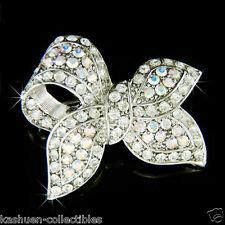 Clear LOVE Knot Bow~ made with Swarovski Crystal Bridal Wedding Pin Brooch Xmas