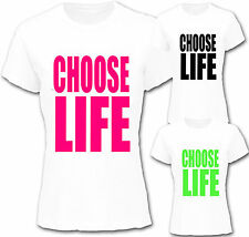 CHOOSE LIFE 80`s Ladies FITTED t shirt fancy dress party slogan wham celebration