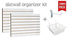 """White Slatwall Panels Organizer Kit (2) 2'Hx4'W + (15) 6"""" hooks & 4 baskets"""