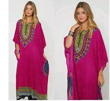 Ladies Women's New Summer Boho Hippie Floral Print Long kaftan dress 12 to 24