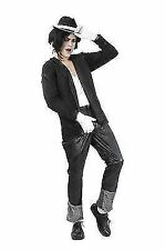 80s Black Mens Superstar Costume - Fancy Dress Michael Jackson Jacko 19 Pop Star
