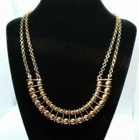 """Gold Tone 2 Strand Ball Sphere Bead Victorian Statement Necklace 18"""" + 2.5"""""""
