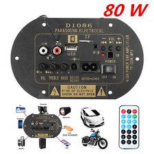 80W Bluetooth Car Subwoofer Hi-Fi Bass Amplifier Board MP3 Audio TF USB 12V/24V