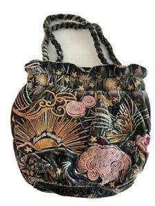 Johnny Was Pouch BAG Selah Velvet Embroidery Smal Floral Flower Hunter Green New