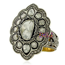 Mind-Blowing Anniversary Ring ! Victorian Rose Cut Polki Diamond Solid Silver :)