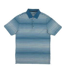 Nike Golf Tour Performance Polo Shirt Small Blue Stripe Short Sleeve Button Up