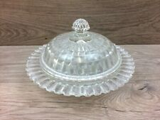 Vintage Large Round Pressed Glass Butter Dish With Lid