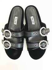 Designer MIU MIU BNWOB Black Leather & Velvet Size 39 Women's Slides
