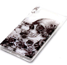 for Samsung Galaxy Note 8 - TPU Rubber Case Cover Clear Black Skull Rose Flowers