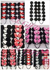 12pc Mickey Minnie Mouse Ears Headband Black/Red/Pink Bow Party Favors Costume