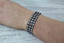 Handmade Adjustable Diamante Diamond Sparkly Cuff Silver Rose Gold Black
