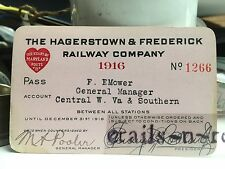 1916 HAGERSTOWN & FREDERICK Railway Railroad Pass MD