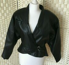 Korea Batwing Wrap Over Size12 Leather Jacket Adjustable Waist Shoulder Pads