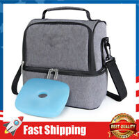 2 Compartment Lunch Box Insulated Lunch Bag Leakproof Thermal Bento Bag, 7L