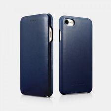 iPhone 7 / iPhone 8 Etui en cuir véritable Luxury Curved Edge Bleu