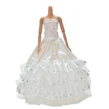 1x weiße Pailletten handgemachte Hochzeit Spitze 3 Schichten Kleid für 11 Barbie