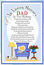 LARGE DAD BIRTHDAY MEMORIAL BEREAVEMENT GRAVESIDE  CARD & FREE HOLDER  2