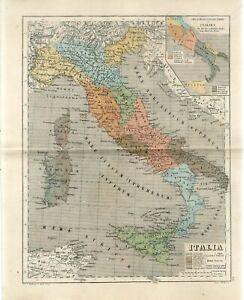 1878 ANCIENT  ITALY SICILY SARDINIA CORSICA PEOPLE LANGUAGES Antiq.Map H.Kiepert