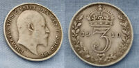 Solid SILVER COIN Threepence 1910 Edwardian Antique Great Britain London Retro