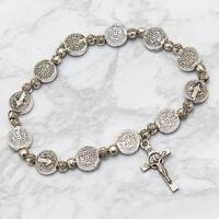 Saint St Benedict Medal Cross Crucifix Rosary Bracelet Pulsera De San Benito