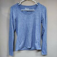 Straight Down Womens Sweatshirt Crew Neck Long Sleeve Pullover Blue Small Petite
