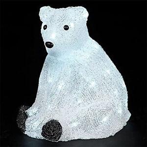 Snowtime 30cm Acrylic Polar Bear LED Illuminated Christmas Figure