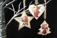 Set of 3 Vintage Chic Father Christmas Decorations Heart Star Tree Santa