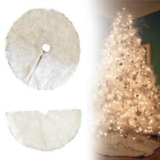 30in White Christmas Tree Skirt Round Plush Mat Cover Home Party Xmas Decoration