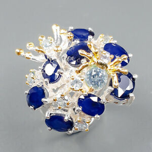 Gemstone jewelry  Blue Sapphire Ring Silver 925 Sterling  Size 6.5 /R163768