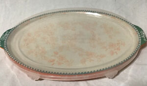 "New Temptations FLORAL LACE Cookware 9""x 13 0val Orange Platter Oven W/ Lid"