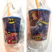 gobelet Hologramme +paille ,Quick DC comics Batman vs joker, NEUF sous blister