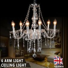 Clear Crystal Chandelier Ceiling Light Droplets Pendant Vintage Lamp 6 Arm Light