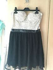 Cream And Black, Lace Bandeau,  Skater Dress