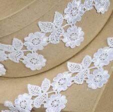 WHITE FLOWER & LEAF LACE TRIM 55mm x 4.5 METER RIBBON CRAFTS CAKE DRESSMAKING
