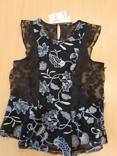 BNWT Women's black evening floral sequin mesh top size 10 by Next