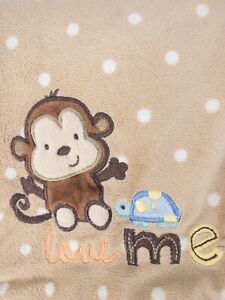 Carters Just One You Baby Blanket Monkey Turtle Love Me Tan Brown White Dots