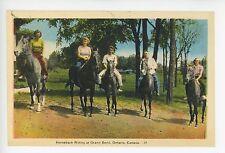 Horseback Riding at Grand Bend Ontario RARE Antique Equestrian PC ca. 1930s