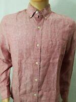 J.CREW Men's PINK 100% Linen Slim Fit long sleeve shirt S button down