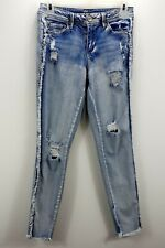 Almost Famous Womens Distressed Jeggings Size 3 Mid Rise Frayed Sides