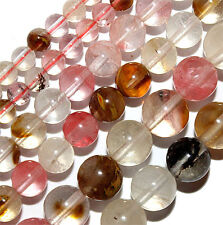 WATERMELON QUARTZ STONE BEADS 6MM ROUND BEAD STRAND S9 PINK BROWN CLEAR