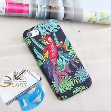 IPhone 7/iPhone 8 CASE gaufrer Slim Housse en silicone perroquet + protecteur en verre
