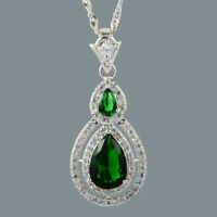 Pear Cut 18K White Gold Plated Cubic Zirconia Green Emerald Pendant Free Chain