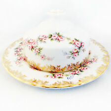 """DIMITY ROSE by Royal Albert Covered Butter Dish 3.8"""" made England NEW NEVER USED"""